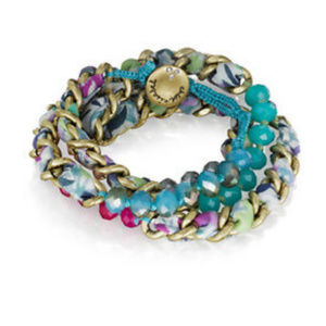 Pink & Teal Bead & Chain Wrap Bracelet Necklace